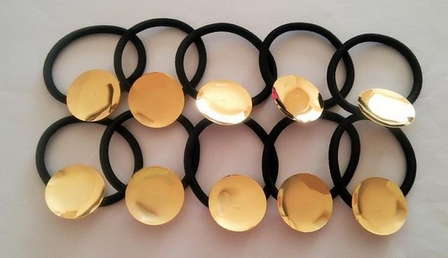 皿付きコンチョポニーゴム(L) 5個