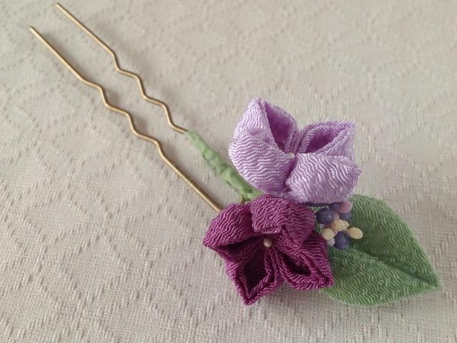 〈つまみ細工〉紫陽花のかんざし(二輪・藤色と若紫)