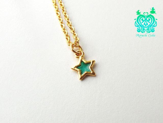 ☆小さな星のペンダント☆(エメラルドグリーン)