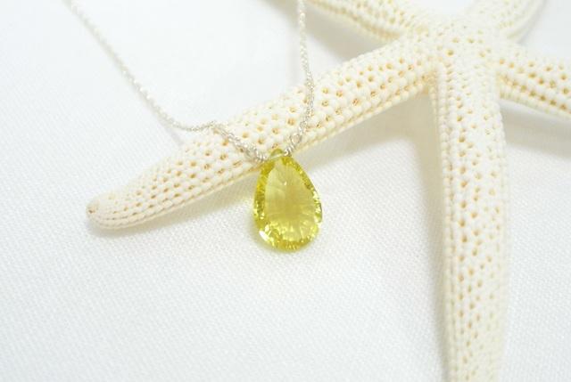 【silver925】宝石質レモンクォーツのネックレス