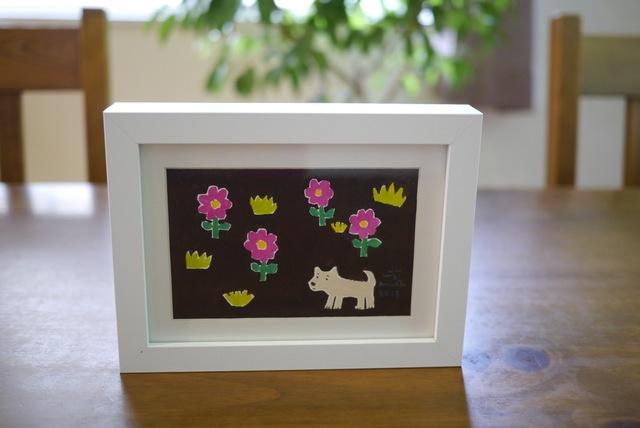 PEACE 花と犬