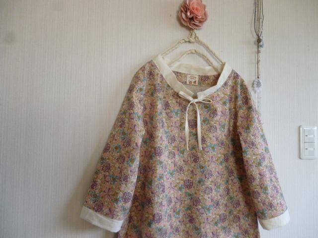 マンセルコレクション綿麻花柄のAラインスタンドカラーワンピ