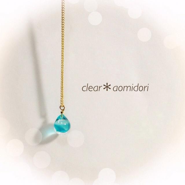 【再販】R-45 一粒のしずく☆ガラス玉のネックレス ブルー