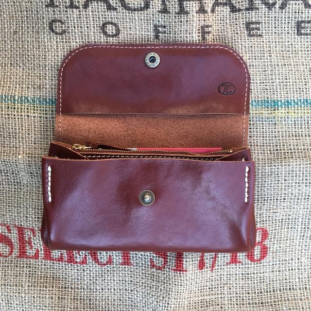 19b017b127b1 ジャバラの長財布/赤みの茶色のレザー財布/大きな財布/ハンドメイド財布 ...
