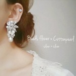 Beads flower × cottonpearl pierce(silver×silver)