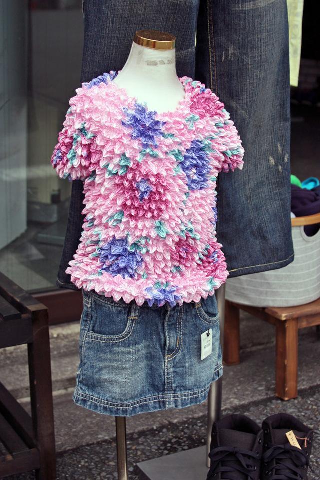 【JIKUU】 キッズ&レディース/ポリエステルニット花柄カットソーTシャツ/ピンク