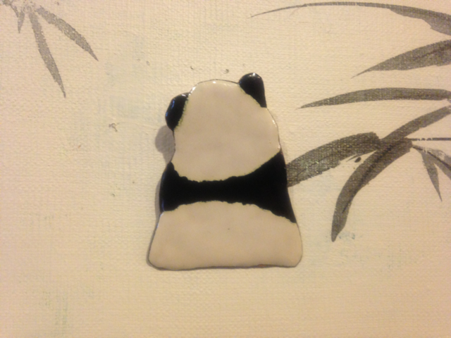 銅板七宝焼き、熊猫のブローチ ほよよ/...
