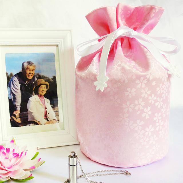 覆い袋( 骨壷袋 ) 骨壷セット 4寸(約14.5cm) 白並 小桜 ピンク 巾着タイプ