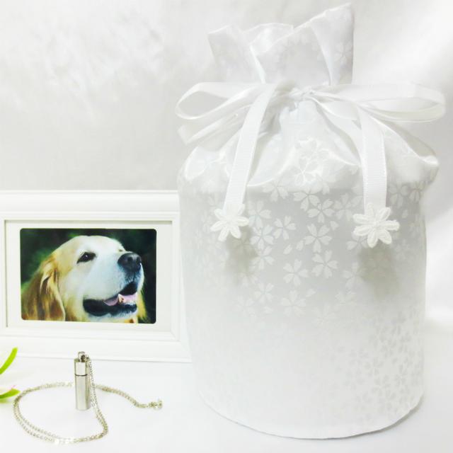 覆い袋( 骨壷袋 ) 骨壷セット 5寸(約18.5cm) 白並 小桜 ホワイト 巾着タイプ
