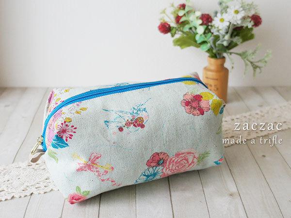 【販売終了】キャラメルポーチ*水色花柄