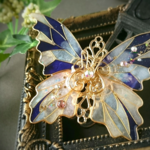 きらめく夜の街ステンドグラス蝶バレッタ(Sparkling night city stained glass butterfly hair ornaments)