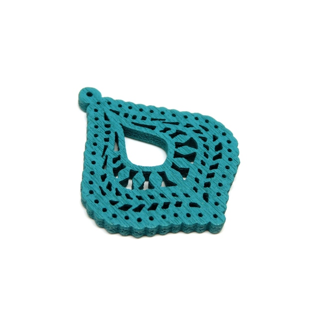 turquoise★4pcs)B type native lace wood charm