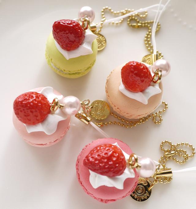 イチゴのせマカロンのストラップ&キーホルダーls2002