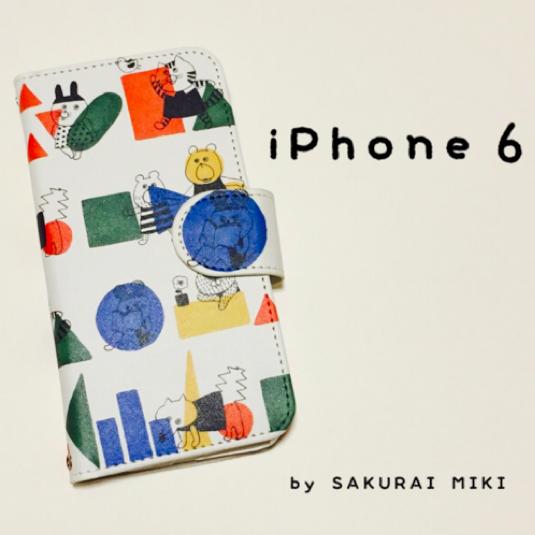 『どうぶつ◯△□』手帳型iPhone6/6S専...