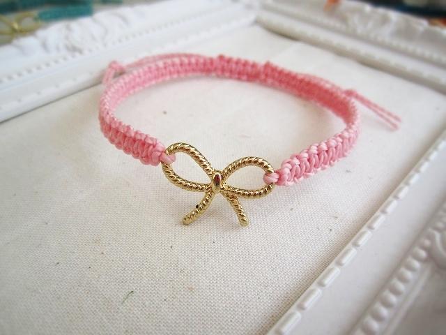 リボンチャームブレスレット(ピンク)