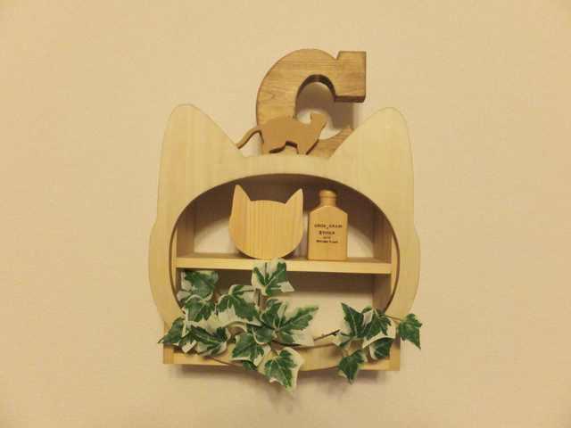 受注製作☆木製☆ネコ顔飾り棚☆ナチュラル