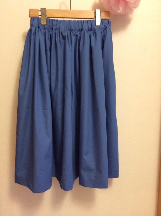 ミモレ丈 シンプルギャザースカート For women さわやかブルー