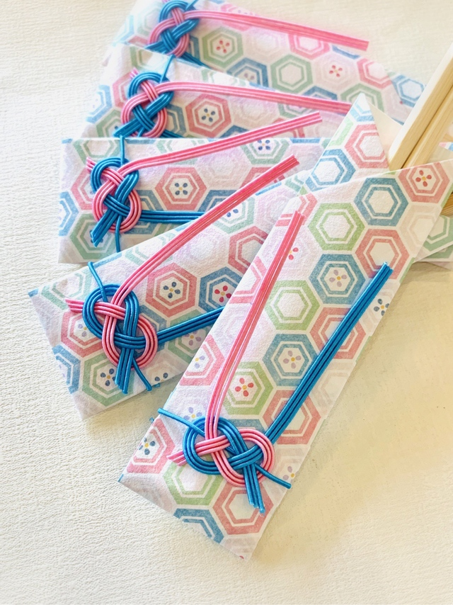水引箸袋ピンクとブルーのあわじ結び5膳セット