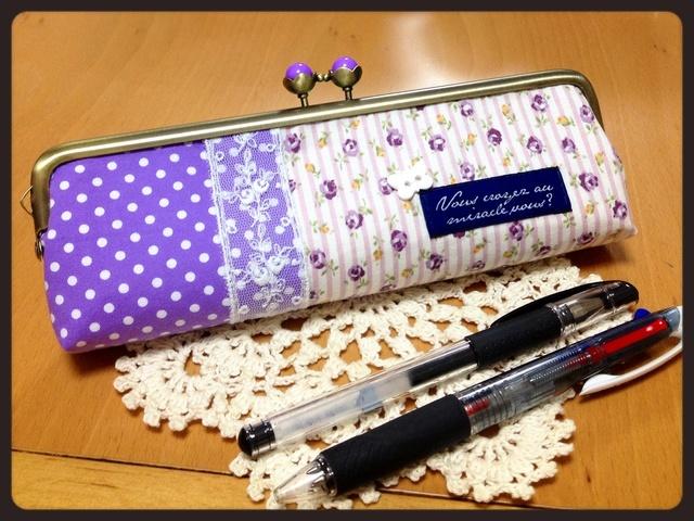 紫のバラとお花げんこのがま口ペンケース