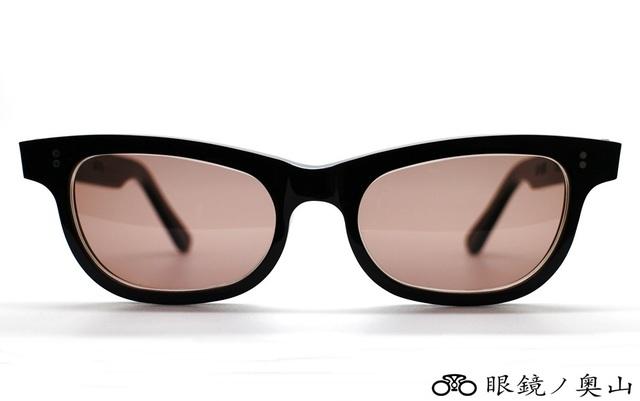 眼鏡ノ奥山がオーダーメイド眼鏡で長年培った沢山のお客様のお顔の寸法から算出したグッドサイズのセルロイドサングラス4-BB