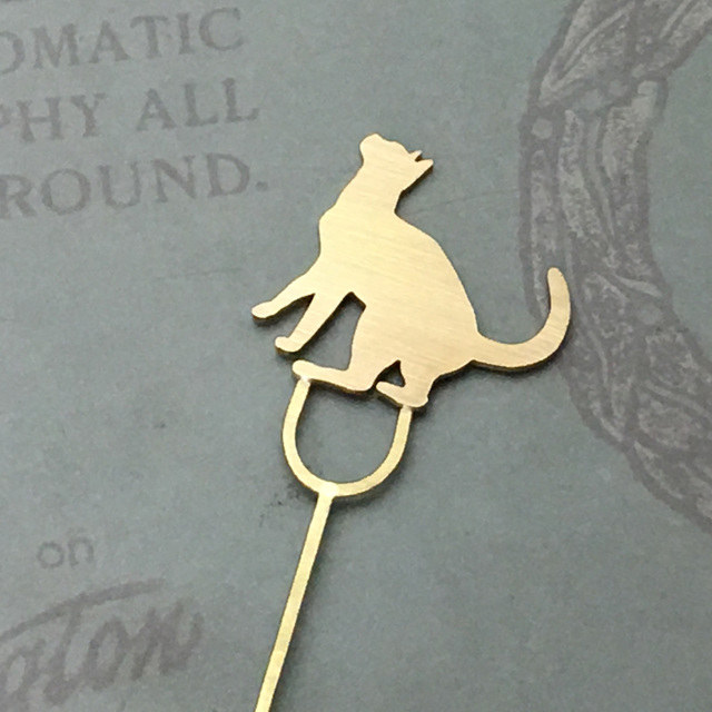 Cat-11 Brass bookMark Largesize(Order Production) ネコ ブックマーク しおり