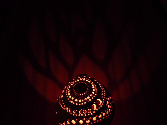 ひょうたんランプ 蓮花モチーフ グラディエーションLED仕様
