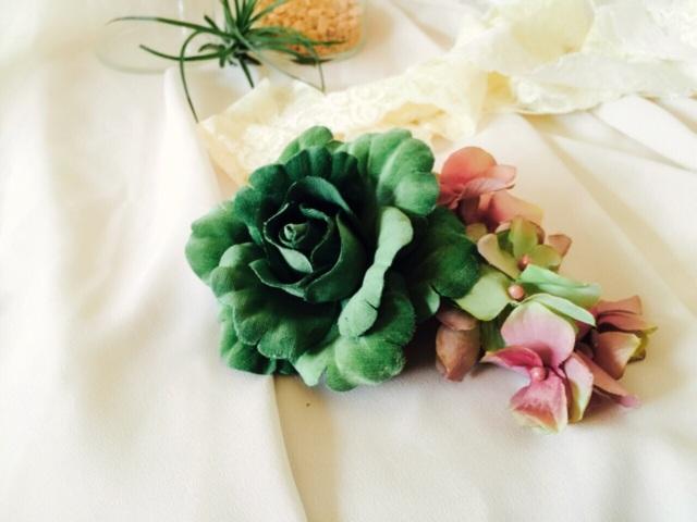 グリーンローズと紫陽花の髪飾り