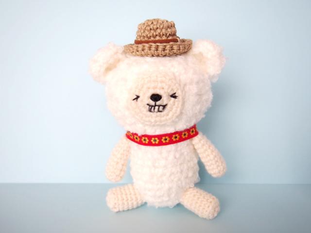 帽子をかぶった白いクマくん*あみぐるみ