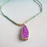 ☆再販☆Pink Druzy Ocean Necklace II *14kgf*