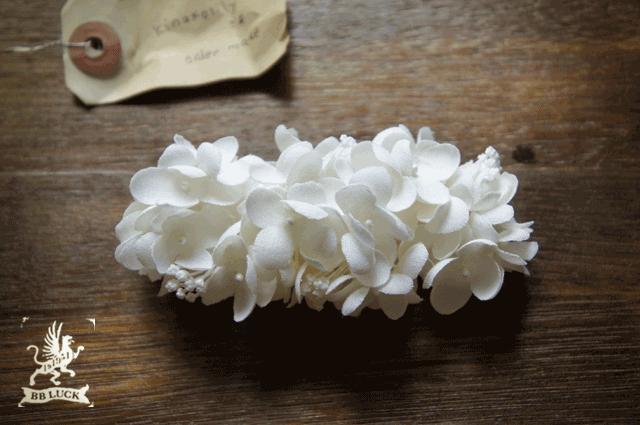 kinakolilyさま order made * barrette【 布花紫陽花のバレッタ * しろいろアナベル 】