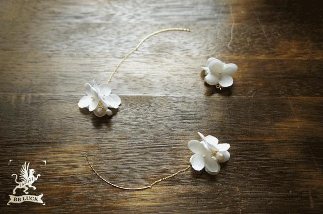 merohana7さま order made * pierce 【 布花紫陽花のピアス 3つセット * しろいろアナベル 】