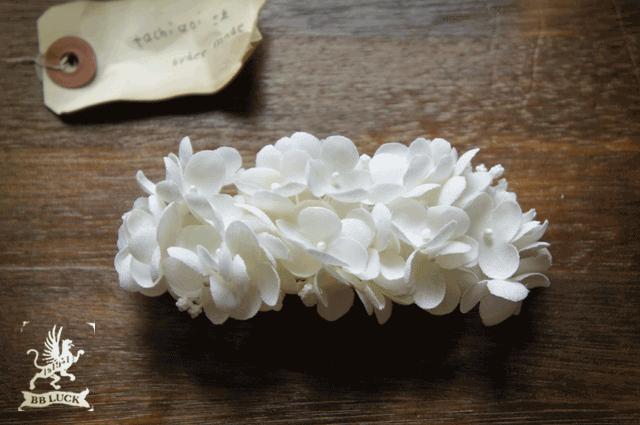 tachiaoi62さま order made * barrette【 布花紫陽花のバレッタ * しろいろアナベル 】