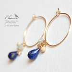 Chance 14KGF pierced earrings Lapis-lazuli/フープピアス・ラピスラズリ