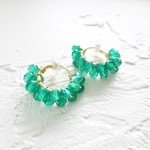 即納/送料込14kgf*Green Onix wrapped earring / pierced earring