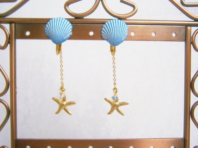 フランス製シェルパーツとヒトデのイヤリング