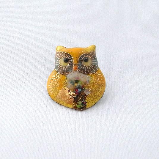 七宝焼ピンブローチ(ピンバッジ,ピンズ) ふくろう黄