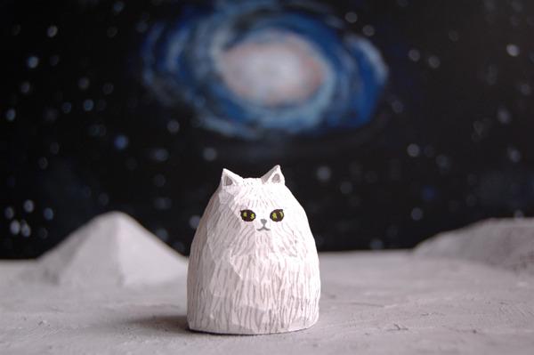 木彫り人形 フサフサキャット  [MUF-004]