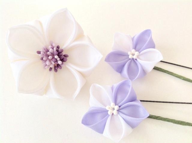 桔梗の髪飾り3点セット【紫×白】