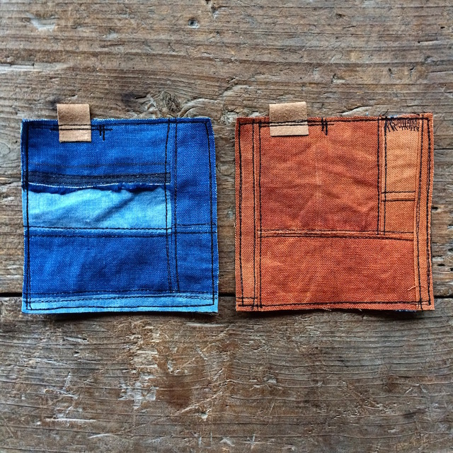 藍染めリネンの四角「ぺったんこコースター」