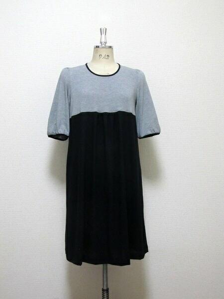 五分袖・バイカラー☆コットンギャザードレス