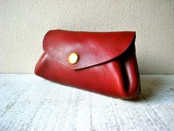 【即納品可能】国産ヌメ革*コロコロ財布 「fave」ボルドー