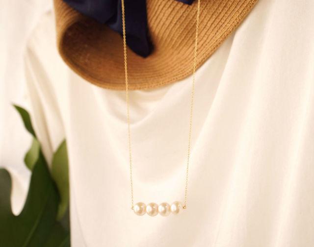 再販】淡水真珠の4粒セミロングネックレス 〜Feline