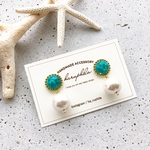 turquoise×cotton pearl pierce/earring