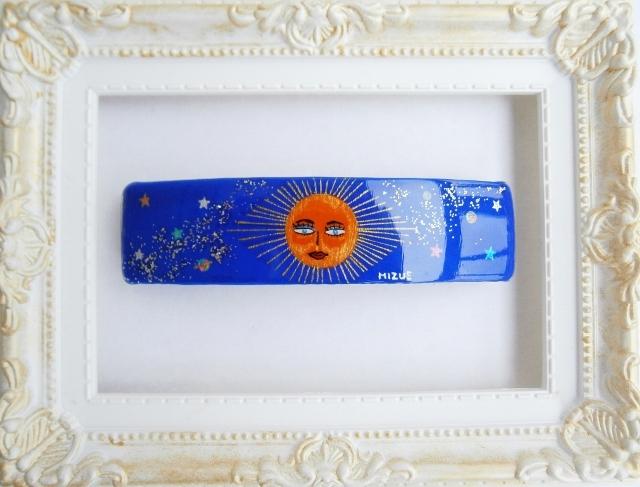 太陽と宇宙(手描きのバレッタ)