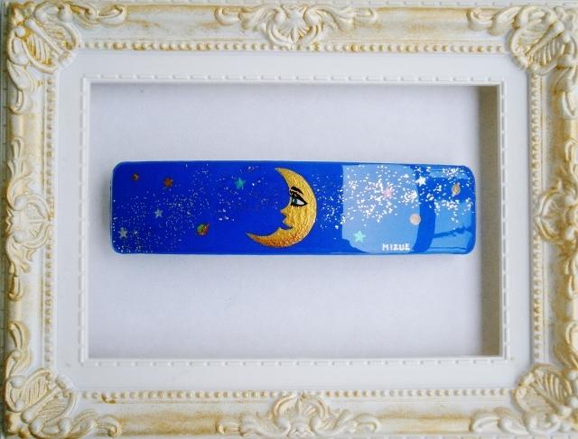 月のバレッタ(手描き)