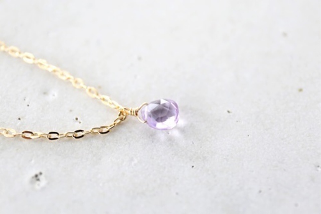 14KGF pinkamethyst necklace [nc1199]