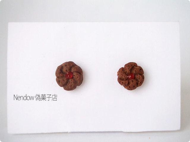 小さなココアジャムクッキーのピアス