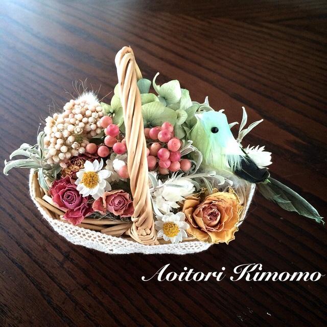 《送料無料》小鳥の花かご*グリーン
