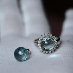 Blue Topaz 10MM FacetedHalf Ball S925WG:ZCリング