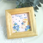 Forget me not 忘れな草の 刺繍ミニ額